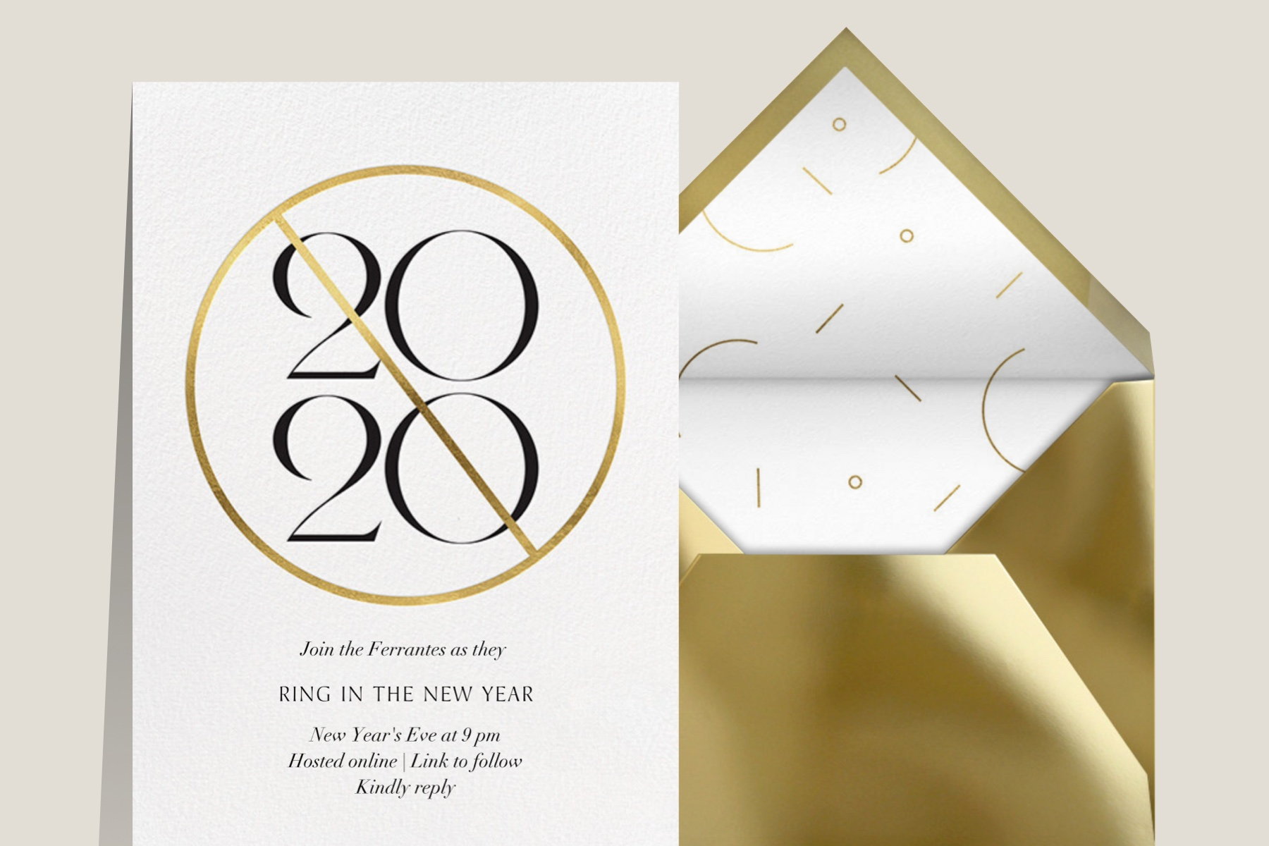 2020 New Years Eve party invitation with gold 2020 graphic