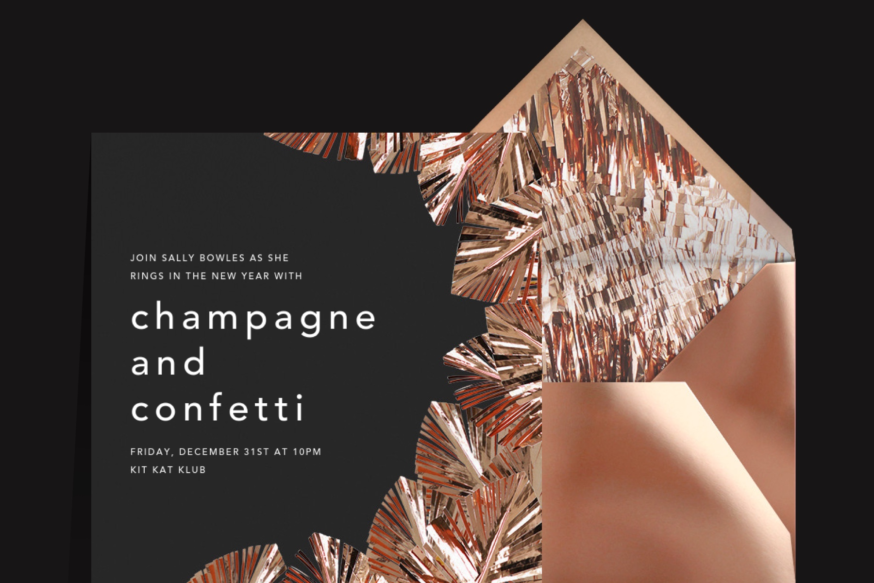 Confetti black and copper invitation from Paperless Post