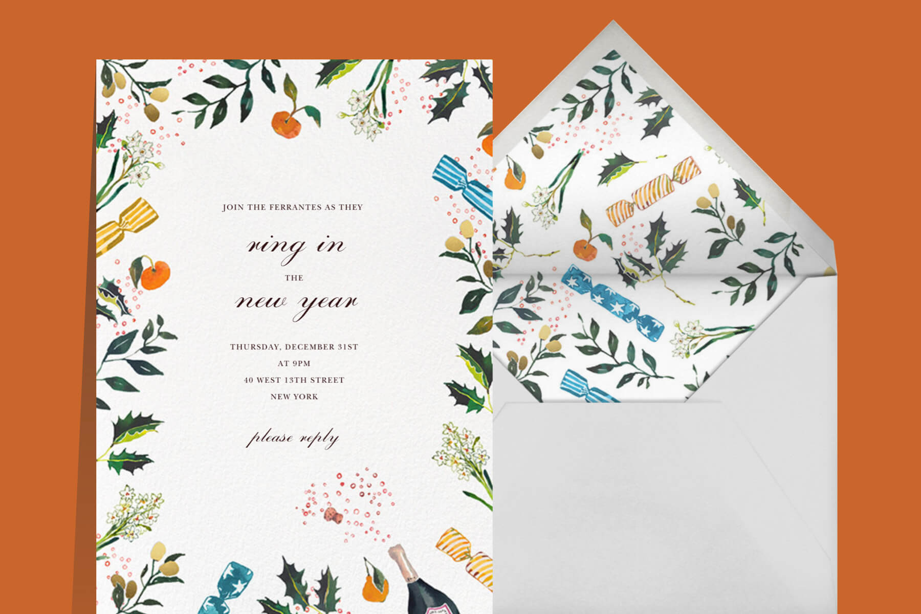 New Year's dinner invitation with holly, citrus, Champagne