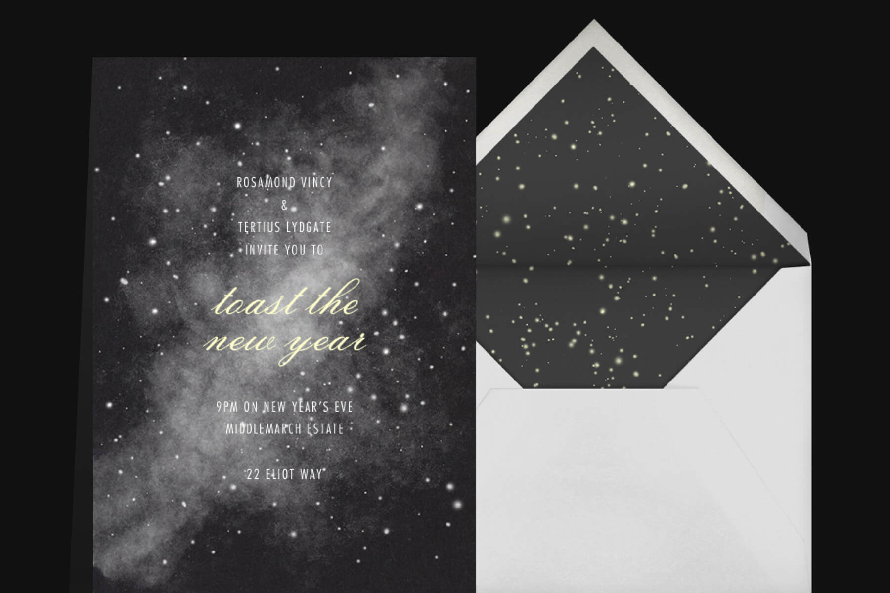 A starry night black and white invitation for New Year's Eve outdoors