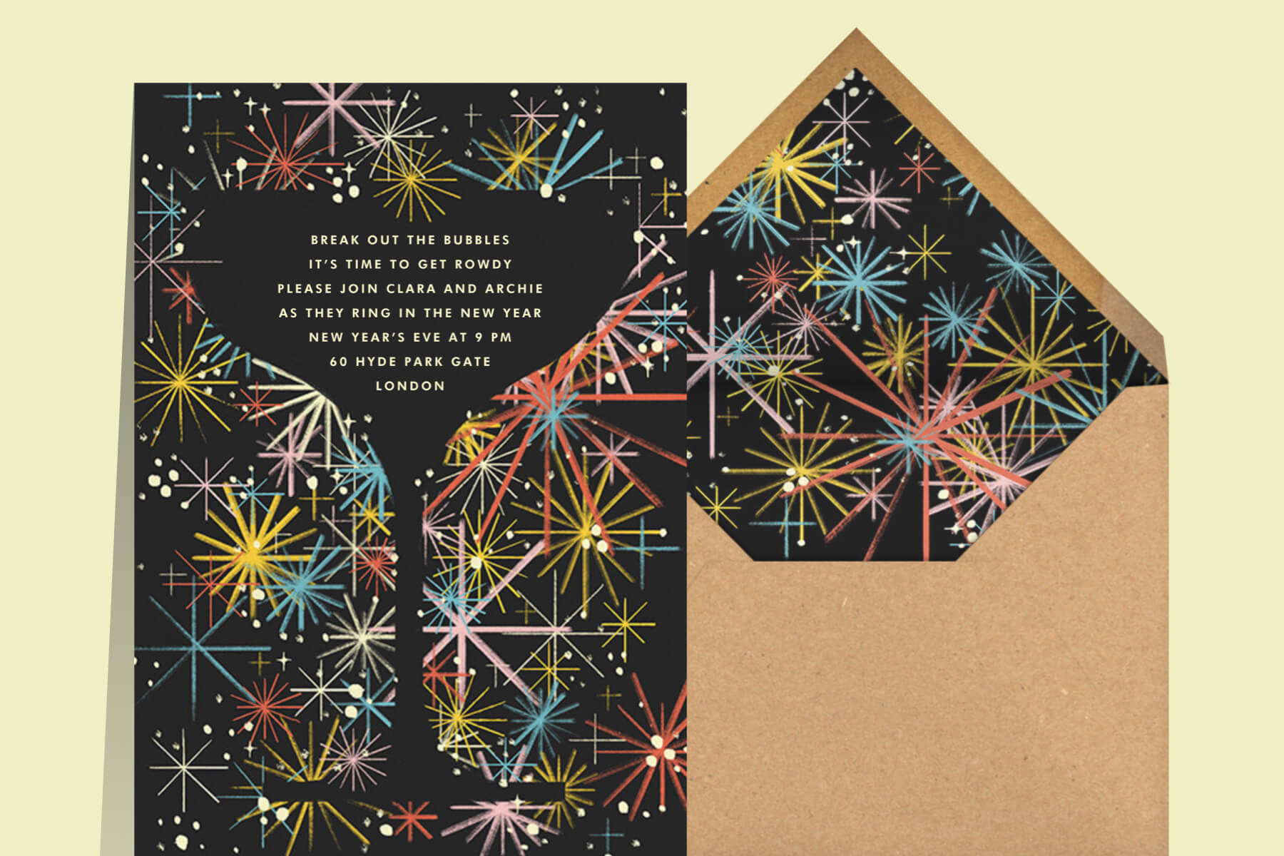 retro New Year's Eve invitations with fireworks behind a cocktail glass