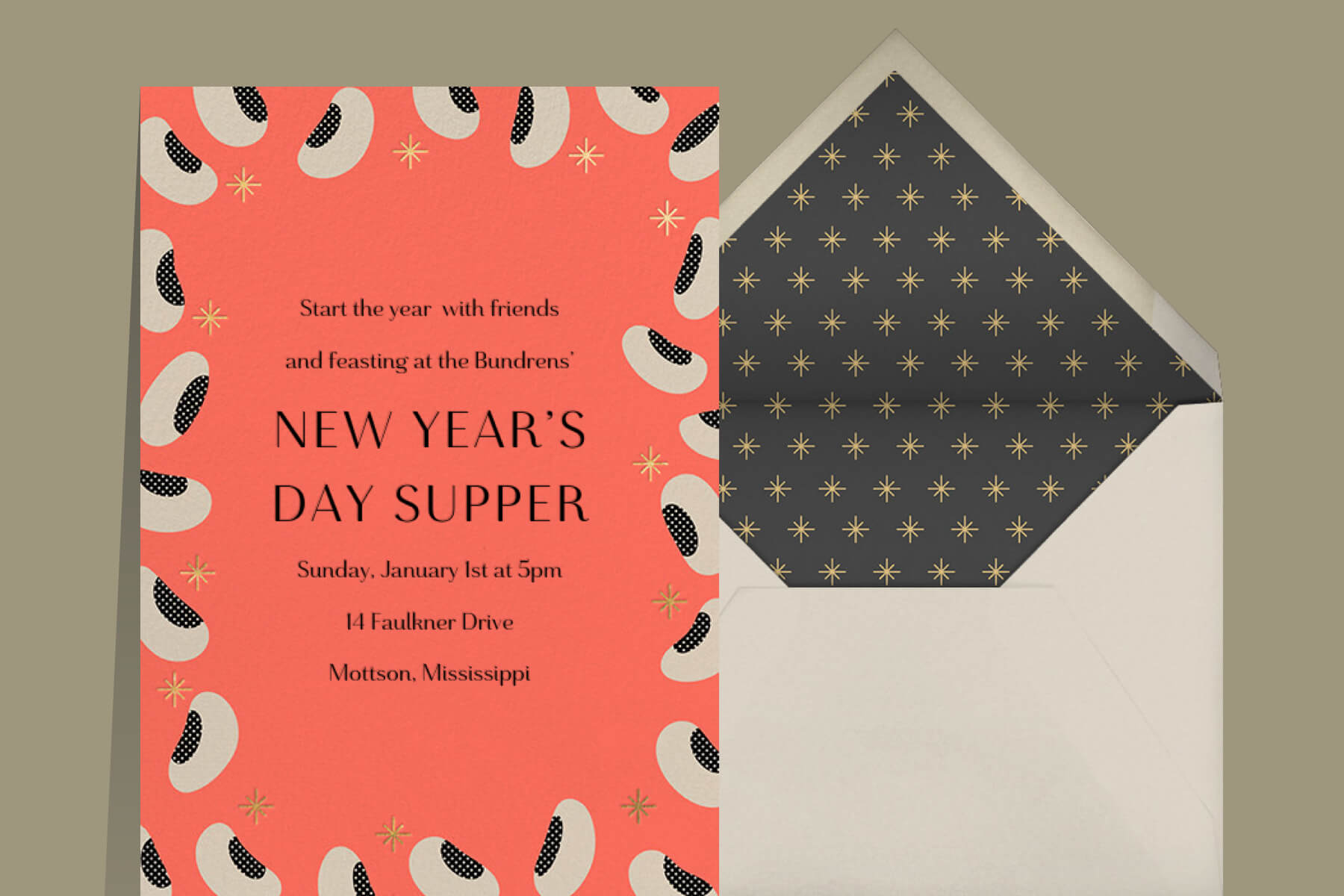 New Year's Day black eyed peas supper invitation