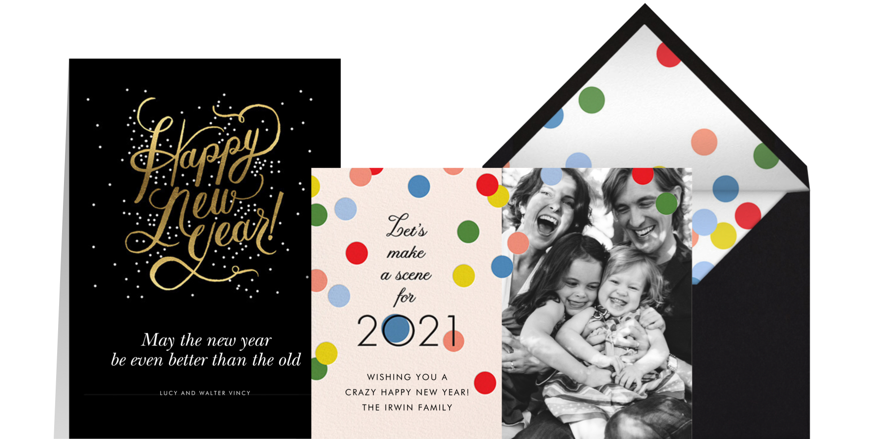 New Years greeting cards with script, confetti, and family photo