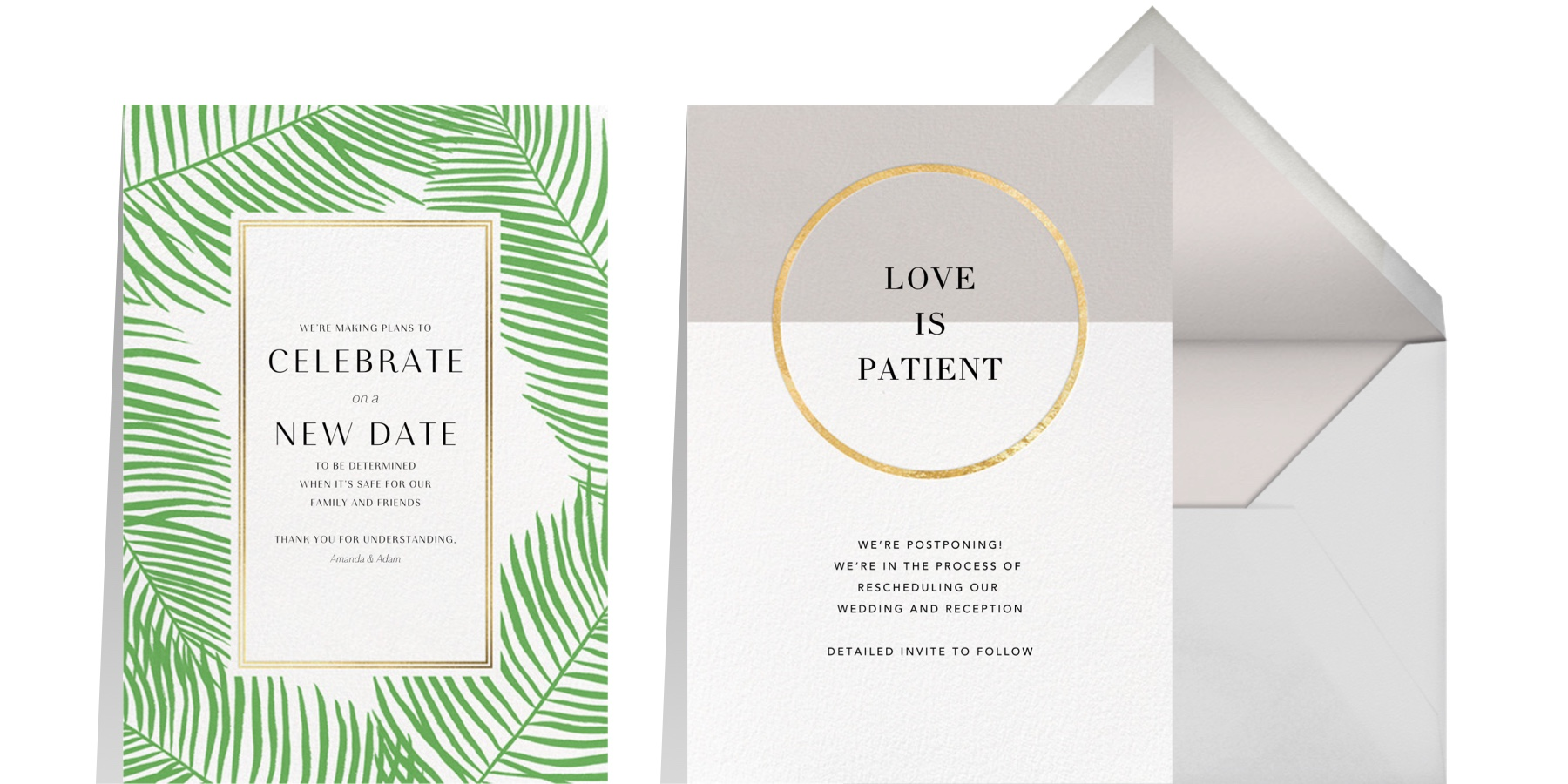 """Left: """"Palmier Nouveau"""" by Paperless Post   Right: """"Burgoyne - Oyster/Gold"""" by Paperless Post"""