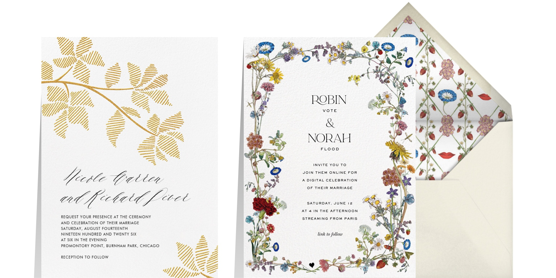 """Left: """"Rio Novo (Invitation) - Gold"""" by Crane & Co. for Paperless Post   Right: """"Strawberry Fields"""" by Stephanie Fishwick for Paperless Post"""