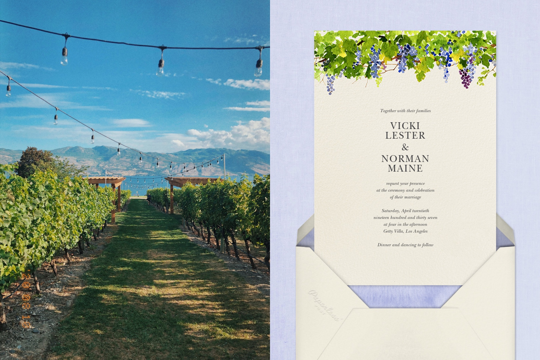 """Left: Photo of a vineyard wedding venue   Right: """"Napa"""" by Felix Doolittle for Paperless Post"""