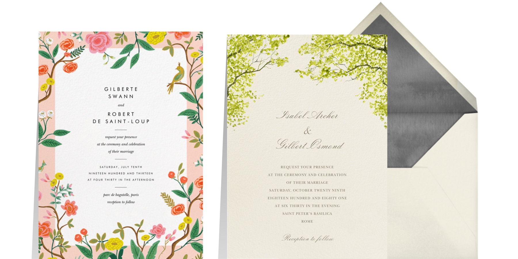 """Left: """"Shanghai Garden"""" by Rifle Paper Co. for Paperless Post   """"Spring Orchard"""" by Felix Doolittle for Paperless Post"""