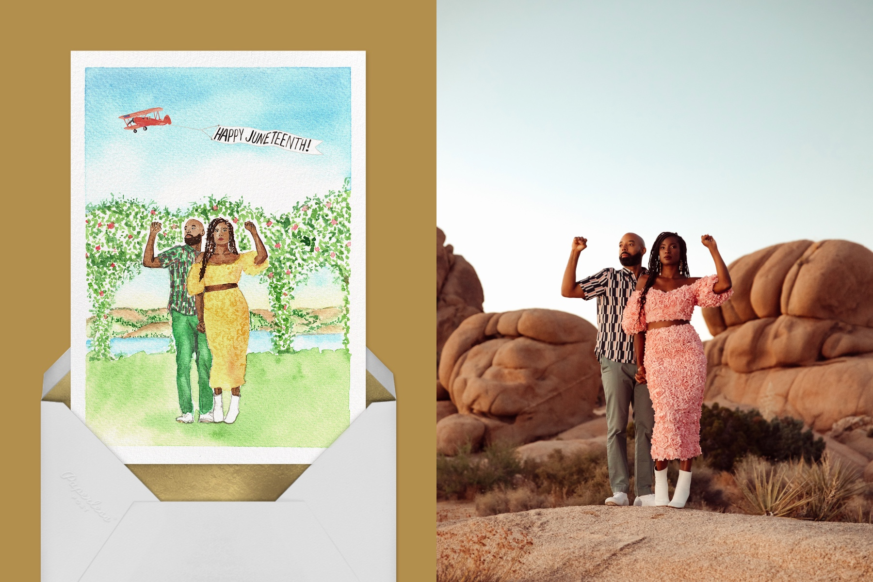 Left: Custom Juneteenth wedding invitation for Safiyah Jihan Miller by Paperless Post   Right: Inspiration photo of Safiya Jihan Miller and her fiance surrounded by rocks.
