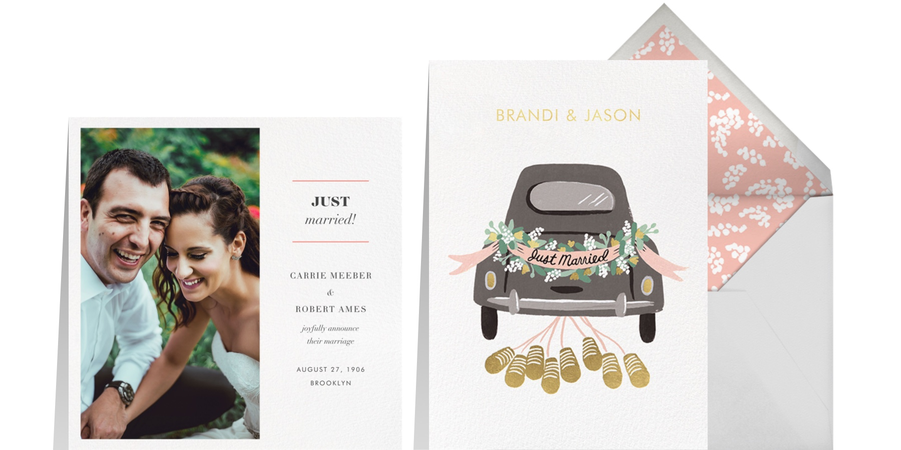 """Left: """"Split Square"""" by Paperless Post   Right: """"Just Married Getaway Thank You"""" by Rifle Paper Co. for Paperless Post"""