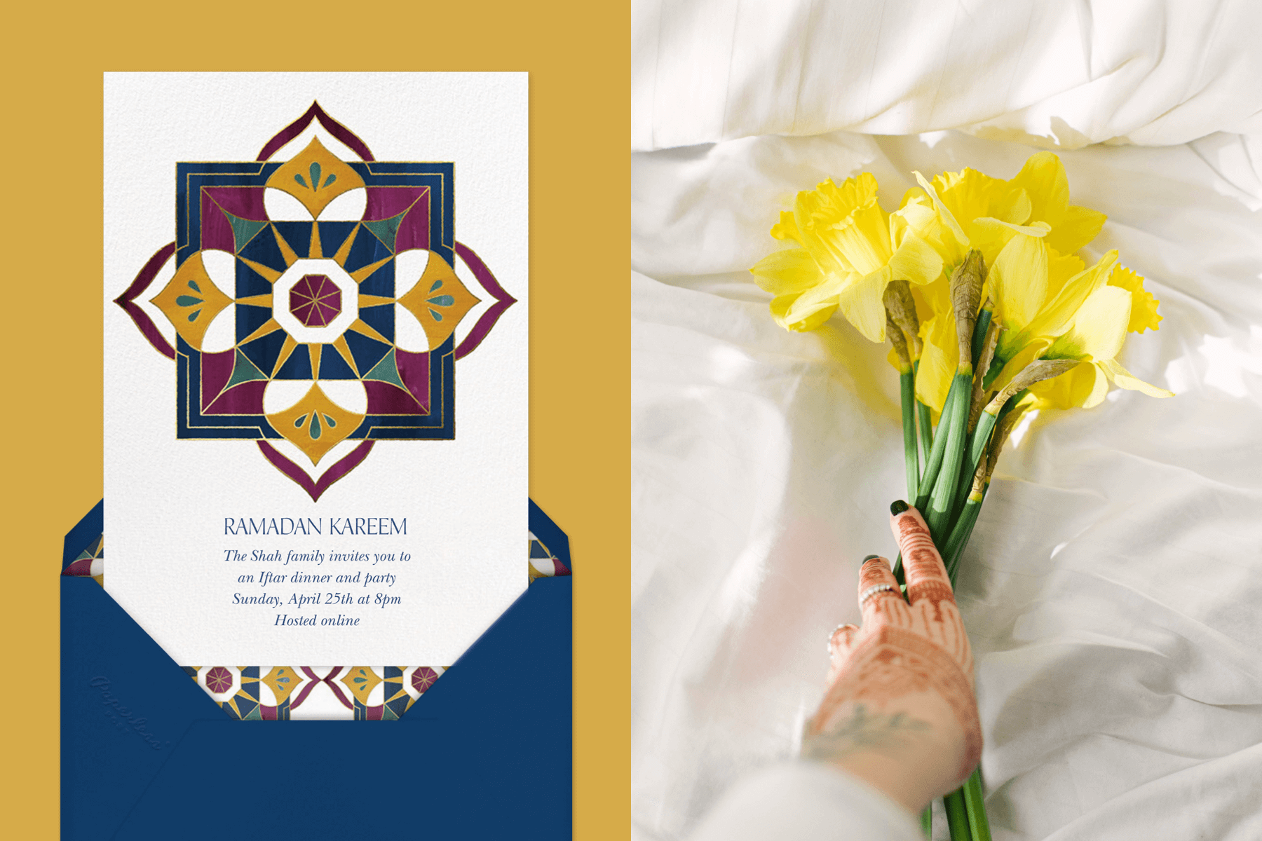 """Left: """"Rub el Hizb"""" by Paperless Post 