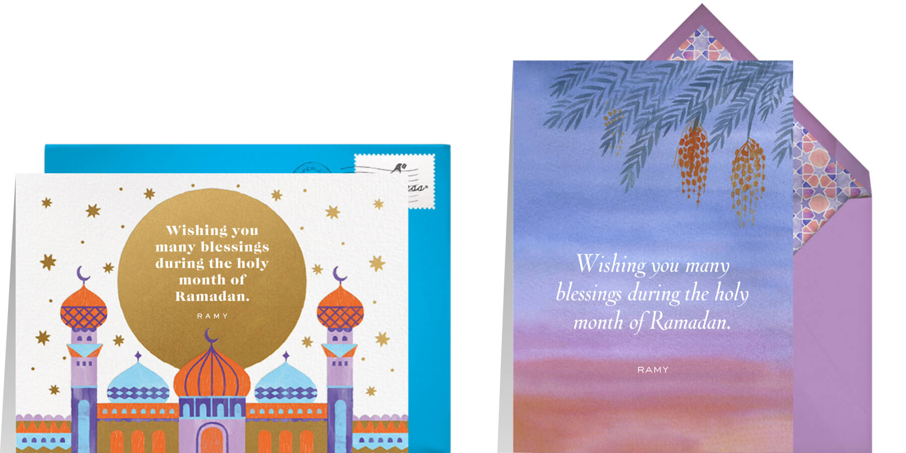 """Left: """"Sunset Blessings"""" by Paperless Post 