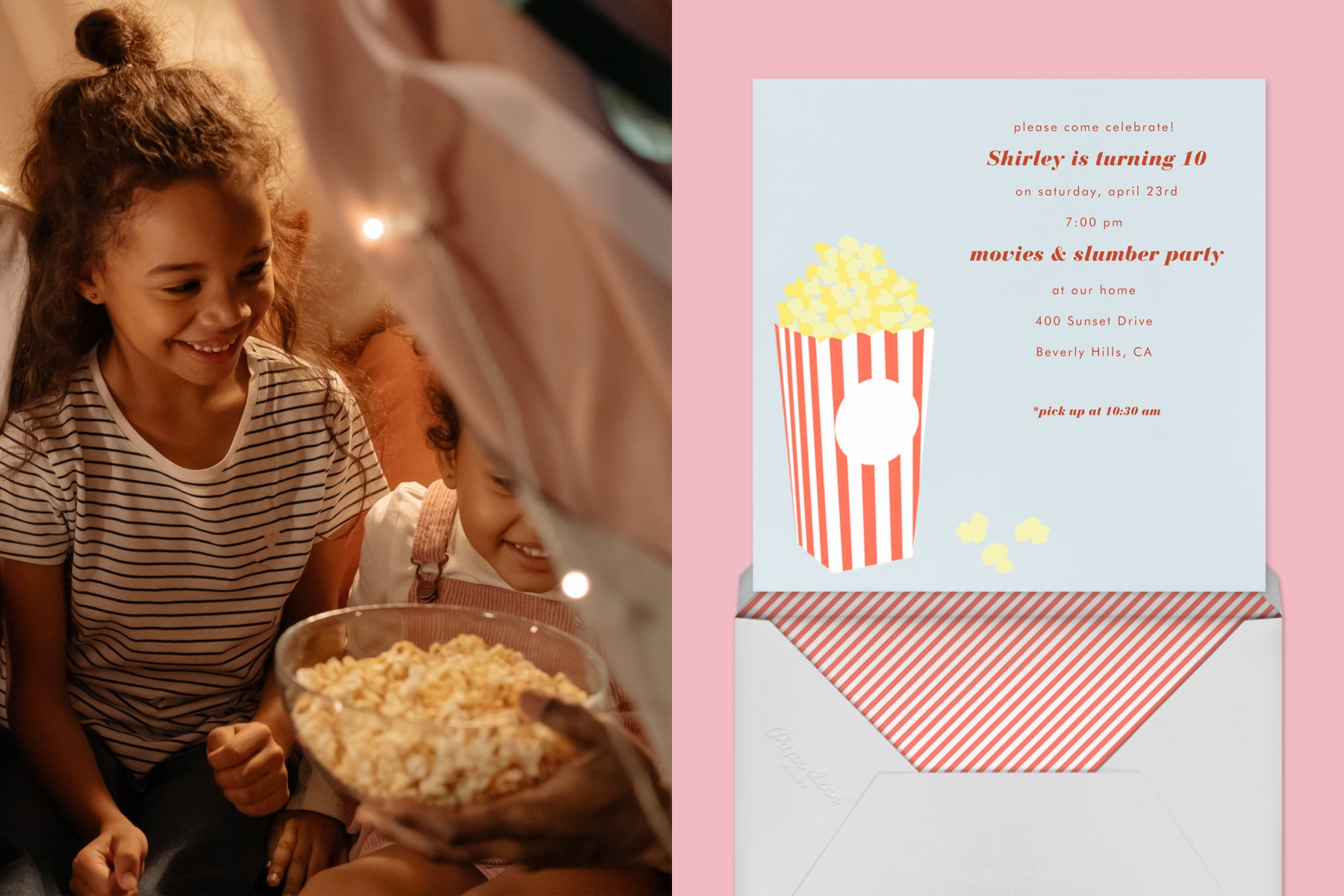 """Left: Children hold a bowl of popcorn. 