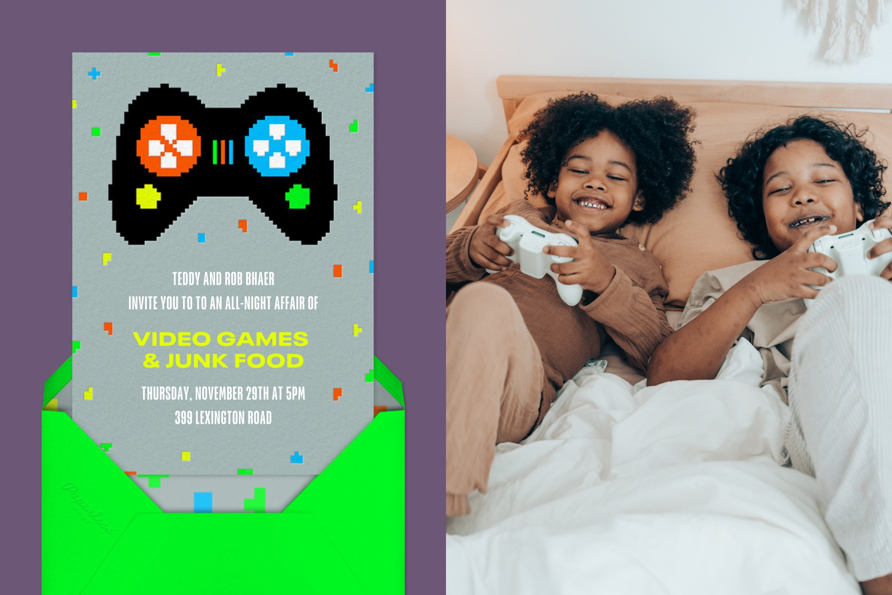 """Left: """"Player One"""" invitation by Paperless Post featuring a pixelated illustration of a video game controller and colorful confetti. 