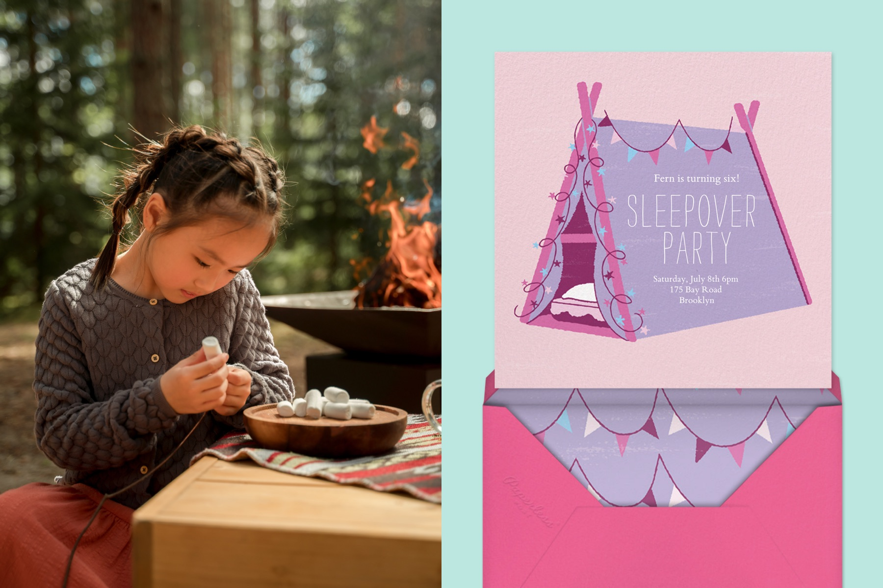 """Right: A child skewers marshmallows on a stick at a campground. 