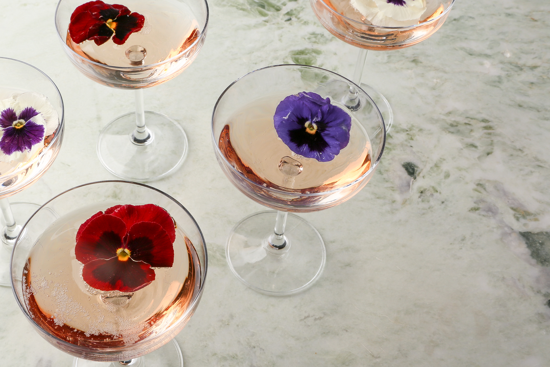 Edible flower cocktail from Paperless Post