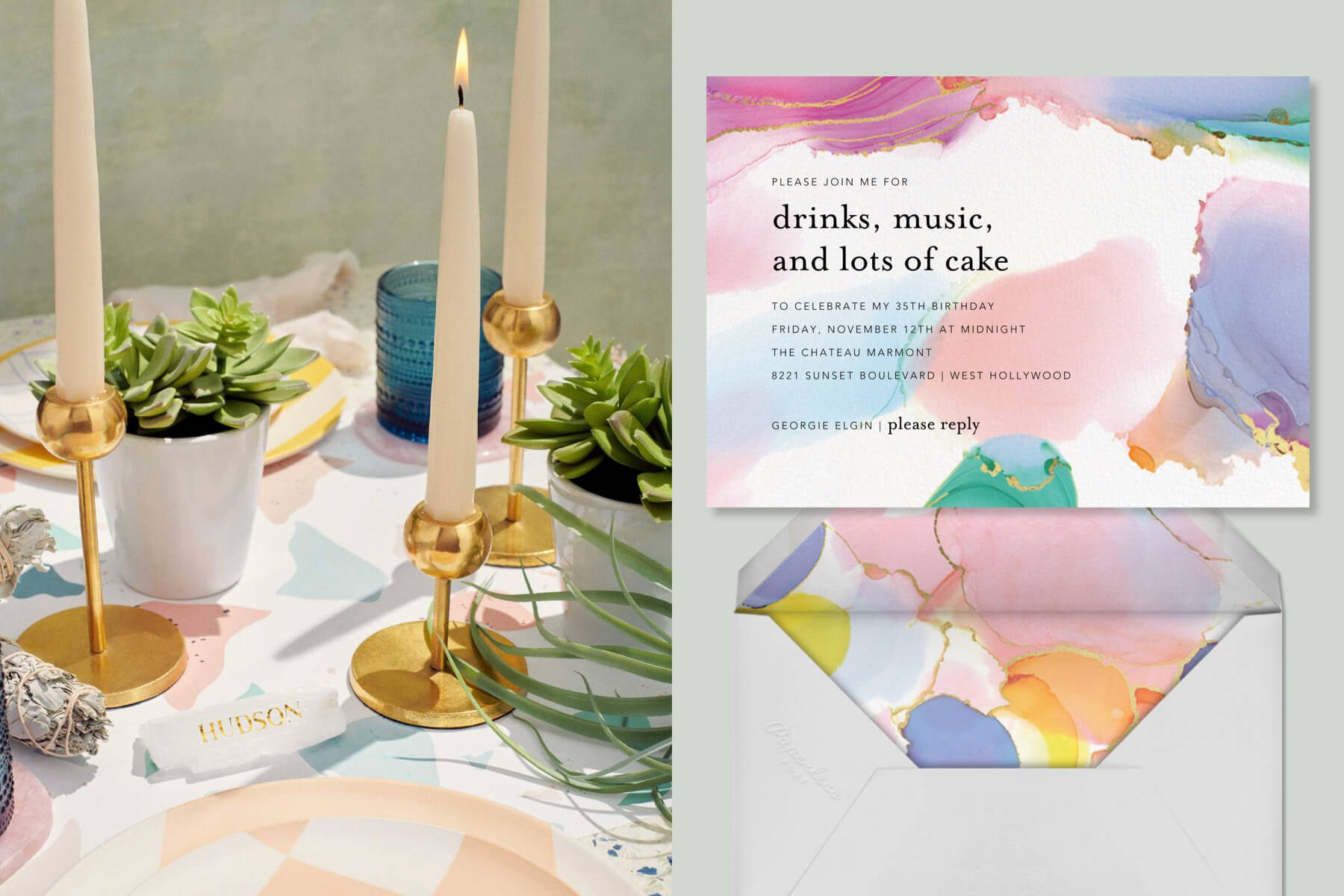 Left: table setting with taper candles and greenery. Right: Paperless Post birthday invitation