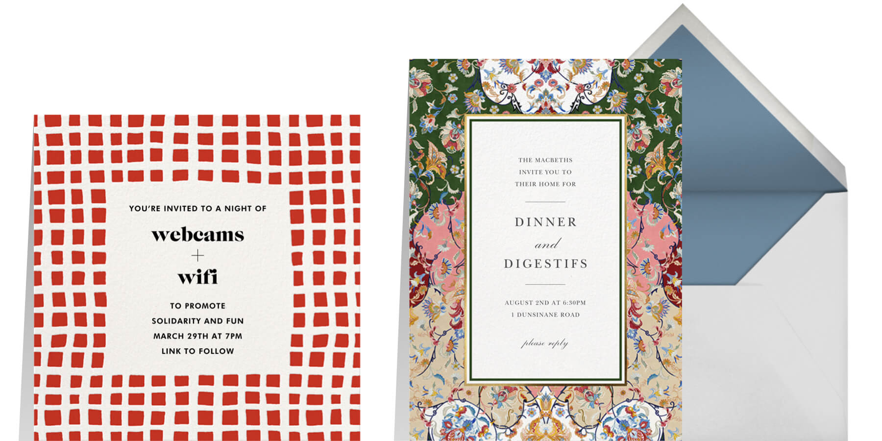 Left: Asymmetric invitation by kate space new york for Paperless Post. Right: Toile Arabesque invitation by Oscar de la Renta for Paperless Post