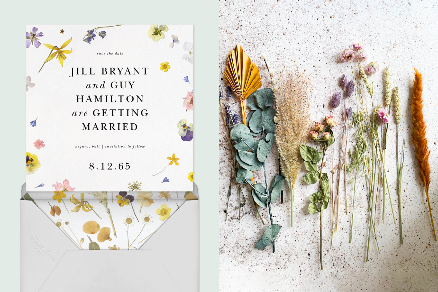 Left: Cordès wedding invitation by Paperless Post. Right: Dried wedding flowers