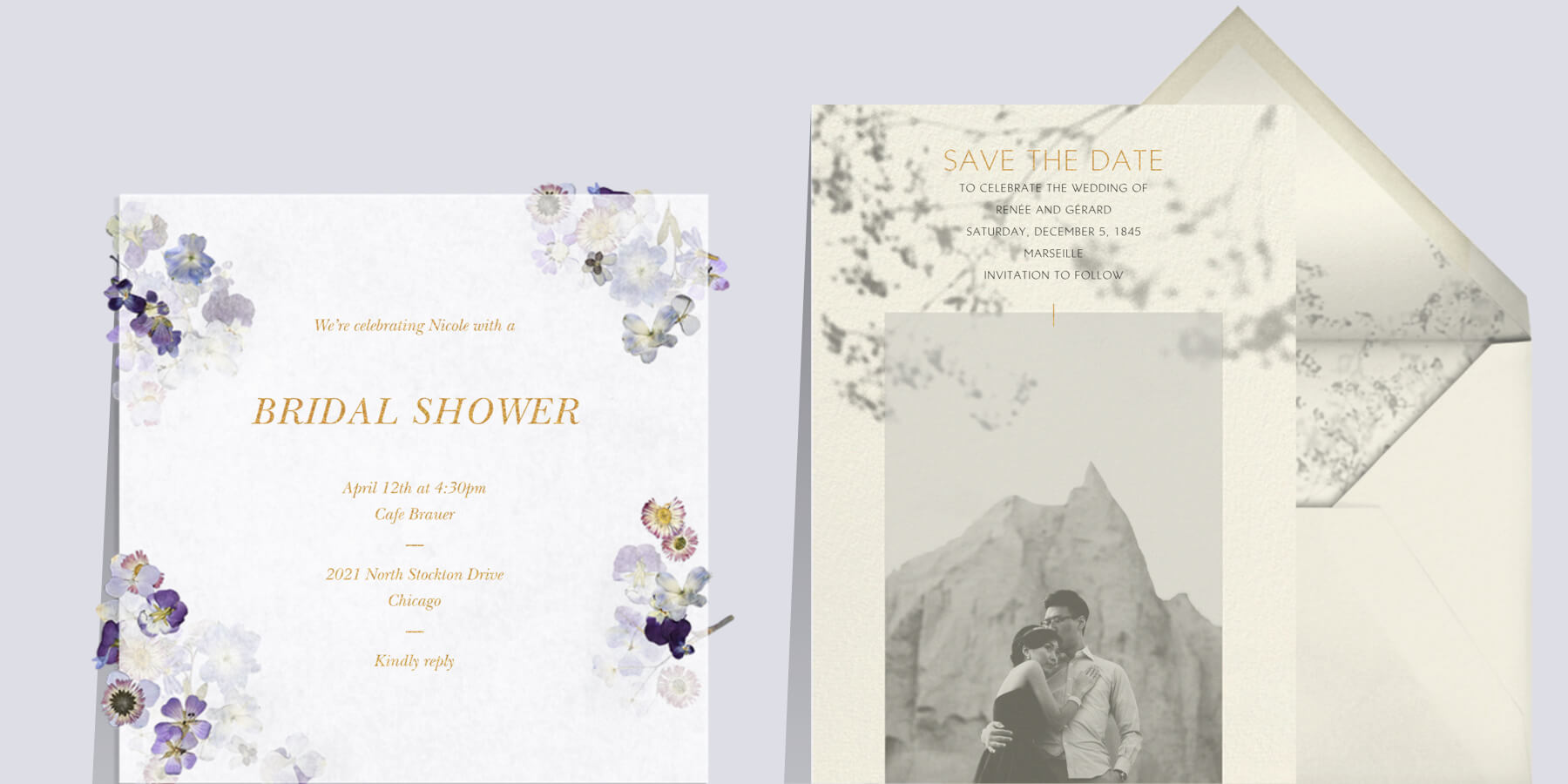 Left: Pressed in Vellum wedding invitation by Paperless Post. Right: Gentle Shadow wedding invitation by Paperless Post