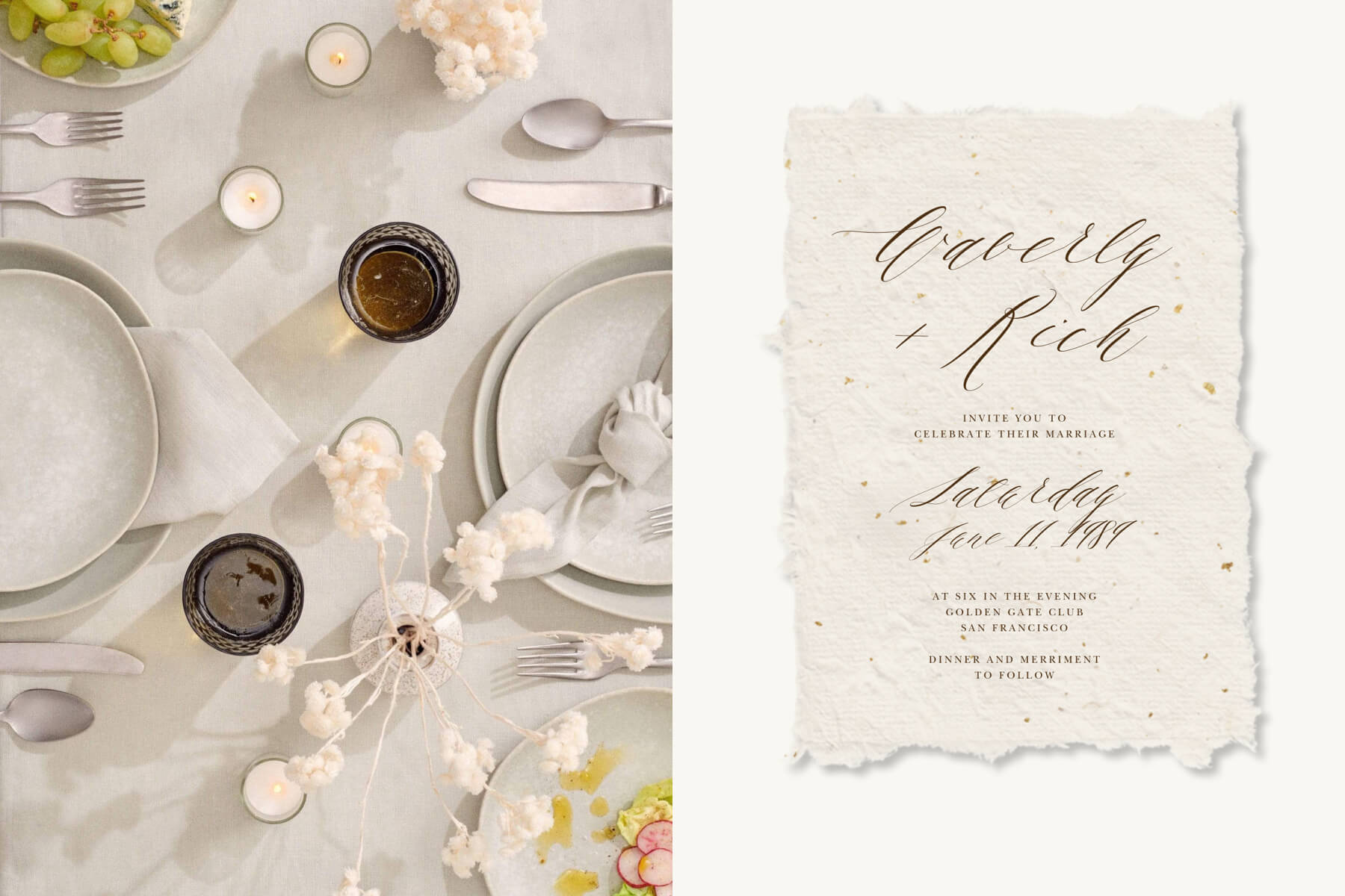 Right: Grey Essentials Tableware Collection by Social Studies. Left: Cennini wedding invitation by Paperless Post