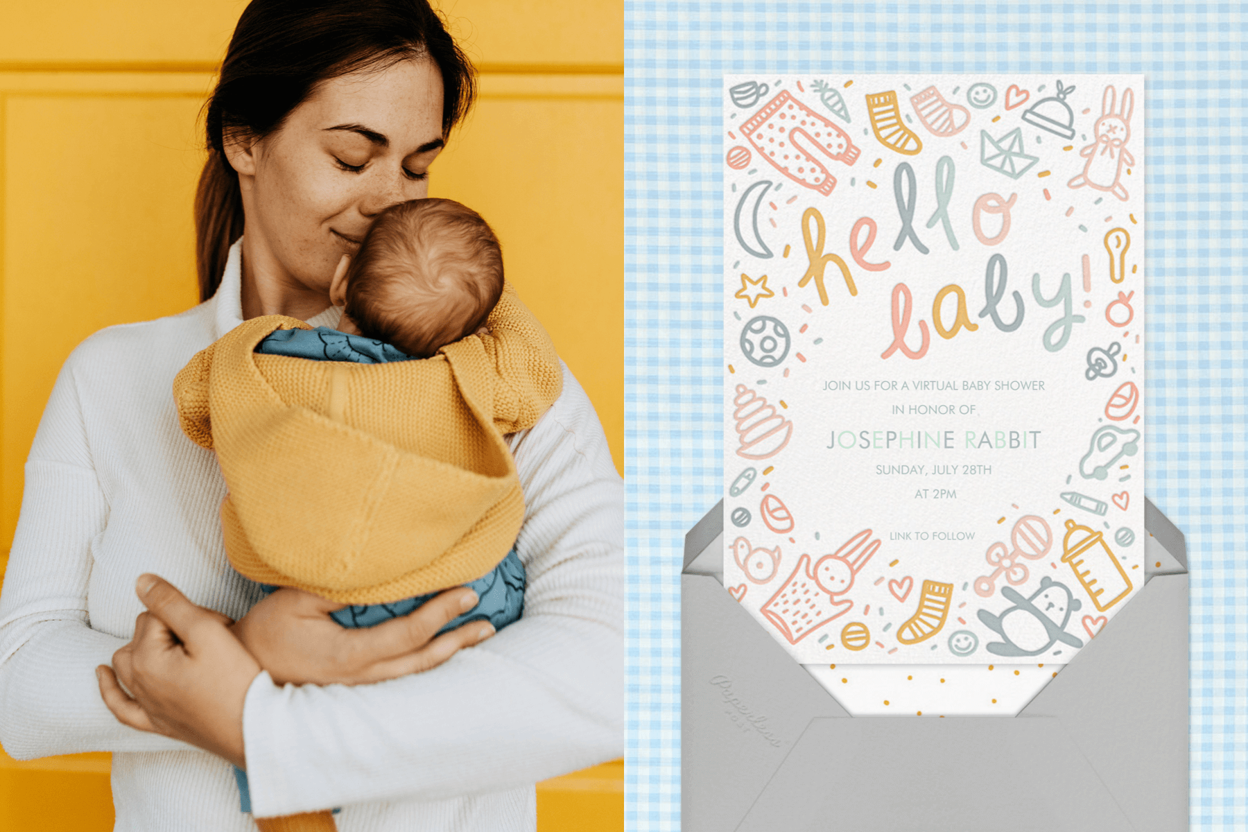 """Left: Mother holding a baby in her arms and smelling their head in front of a yellow wall 