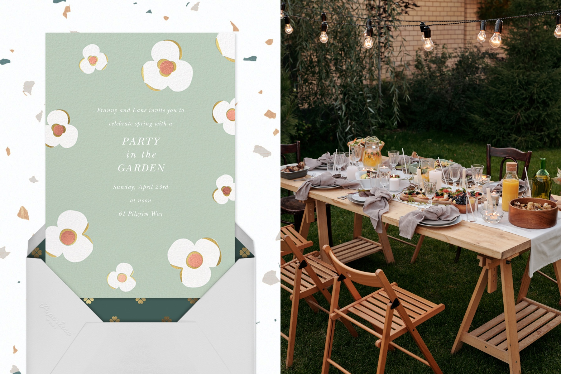 """Left: """"Three Petals - Mint"""" by kate spade new york for Paperless Post 
