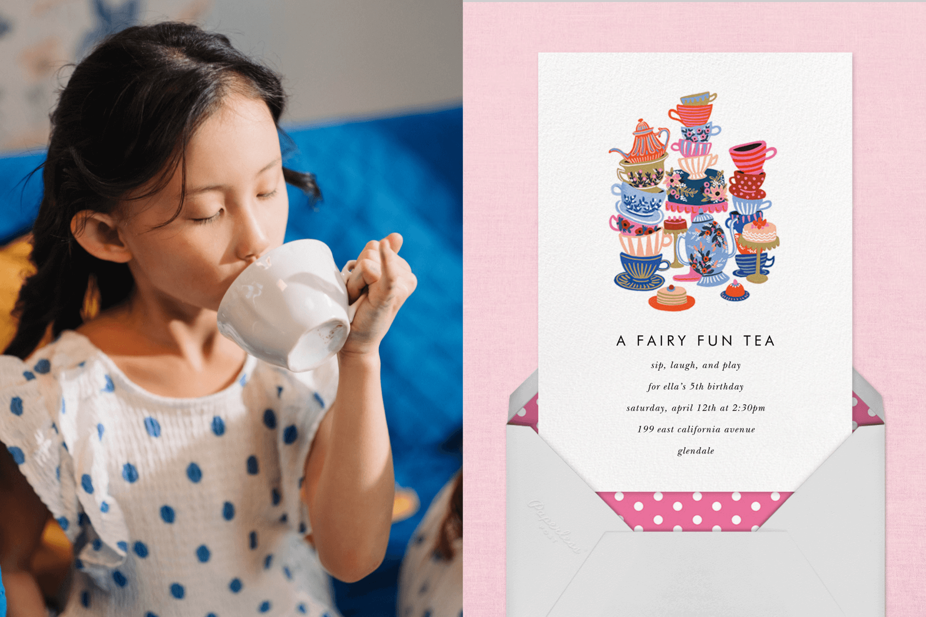 """Right: Young girl drinking tea out of a tea cup with a blue background 
