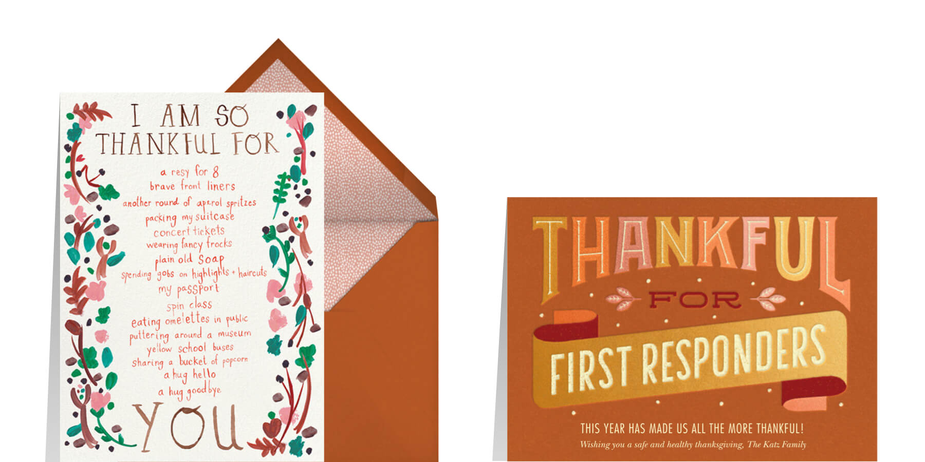 Thanksgiving greeting card wording examples from Paperless Posst