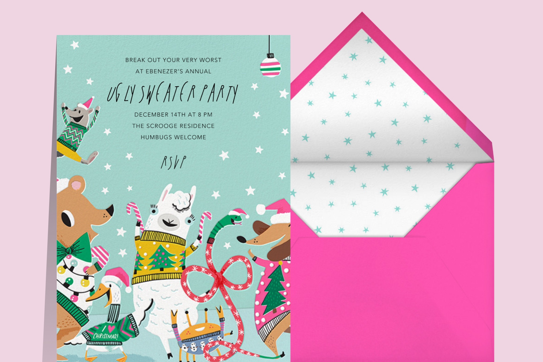 ugly sweater party featuring party animals invitation from Hello!Lucky