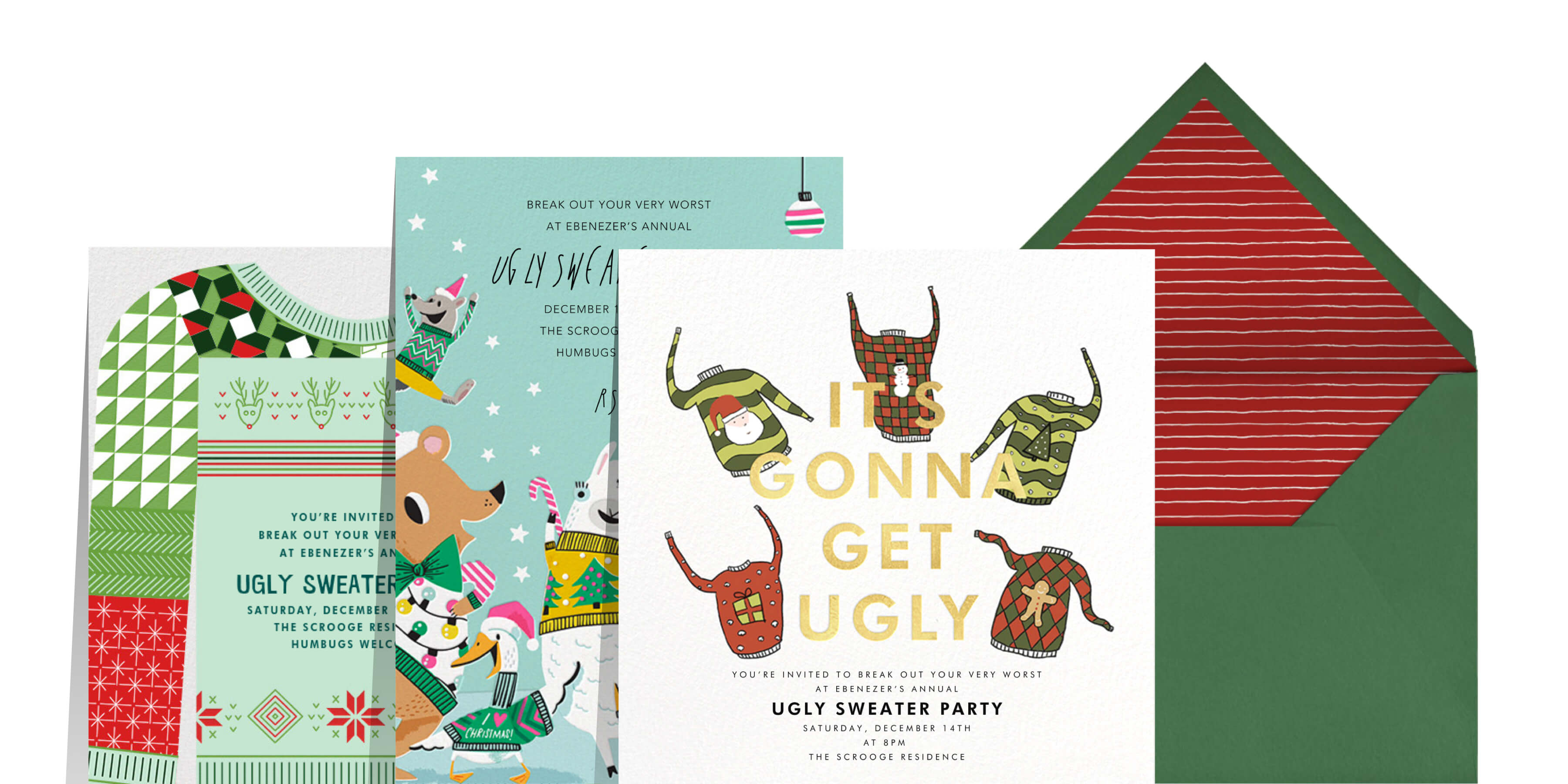 ugly Christmas sweater invitations from Paperless Post