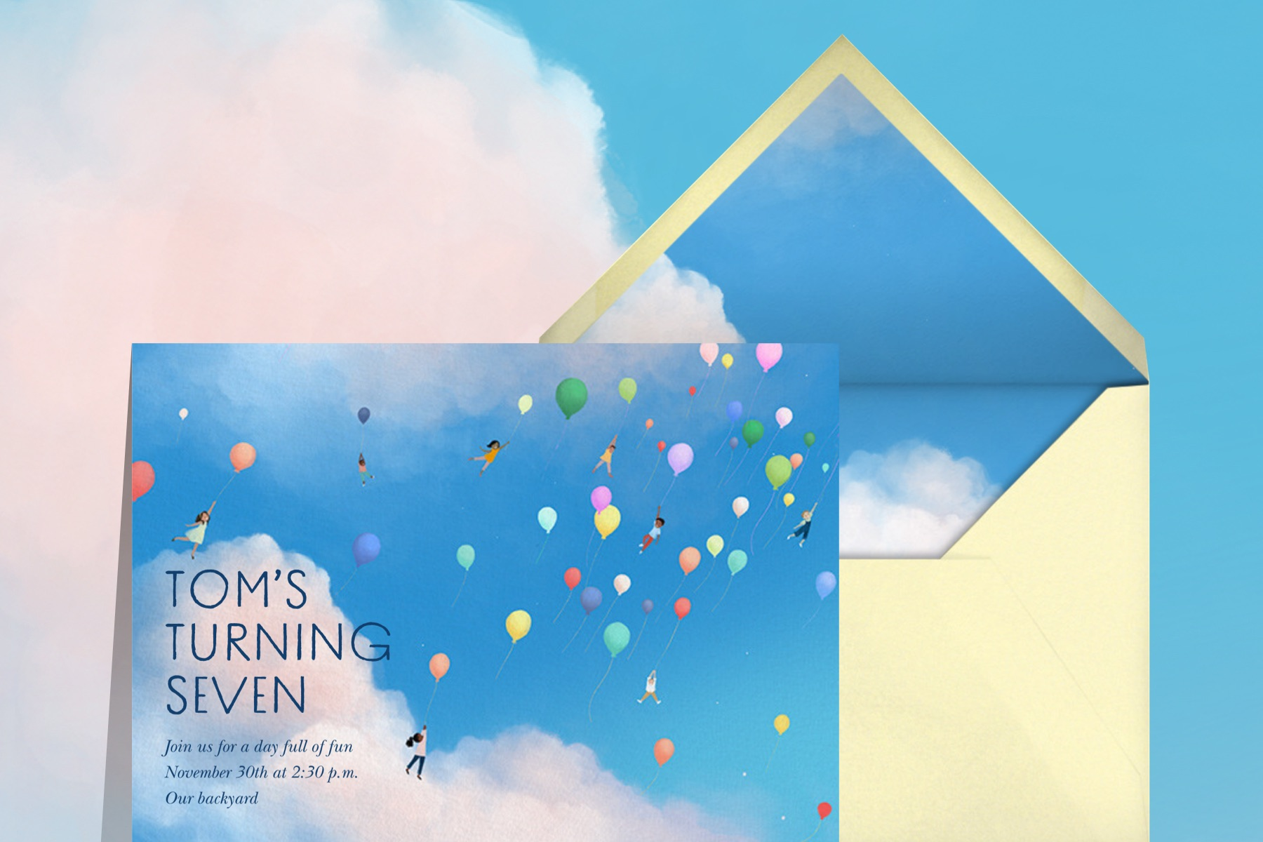 """""""Great Heights"""" invitation by Vashti Harrison for Paperless Post. The card features an illustration of several children lifting off into the sky on balloons."""