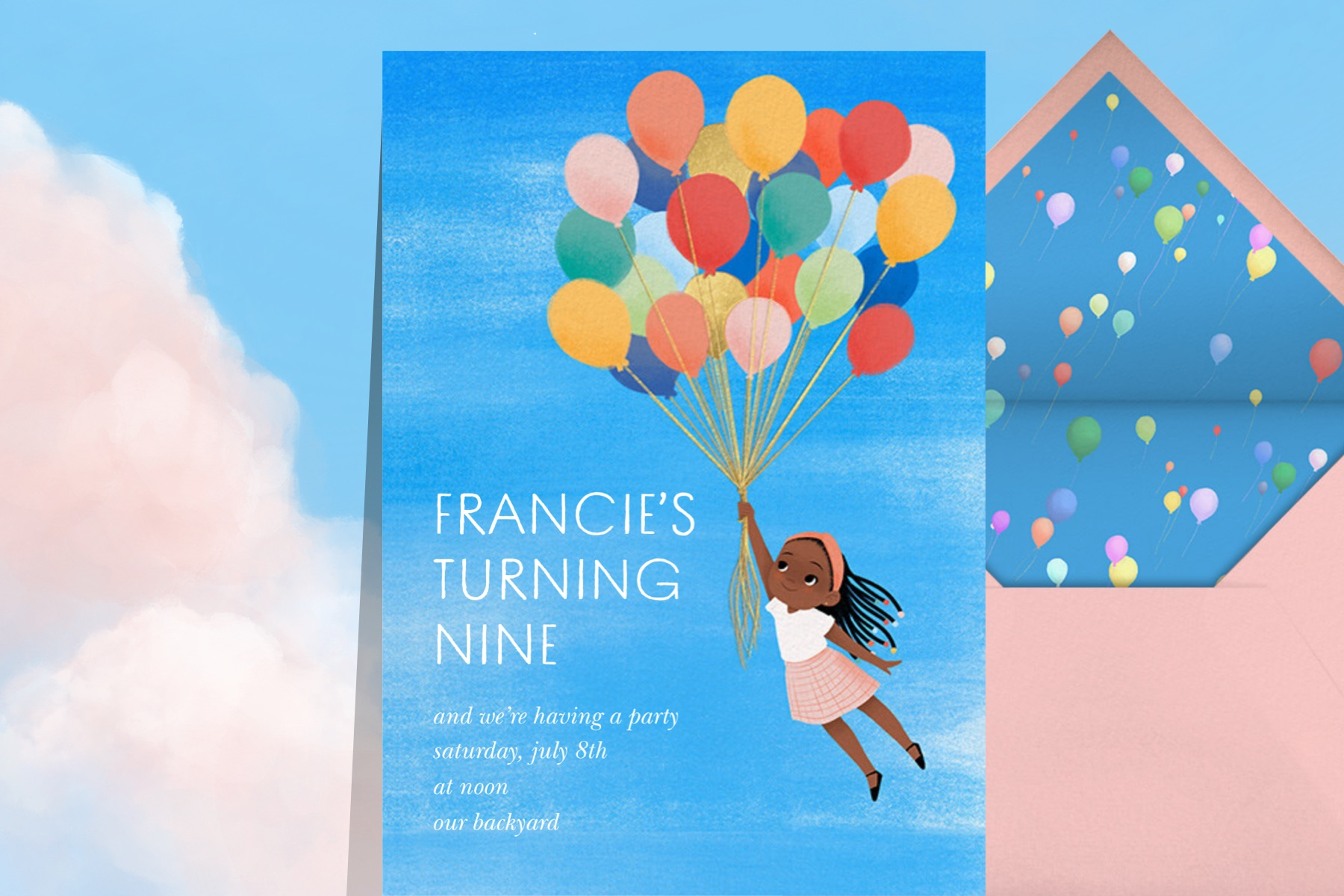 """""""Flying Colors"""" invitation by Vashti Harrison for Paperless Post. The card features a young girl lifting into the air with the help of lots and lots of balloons."""