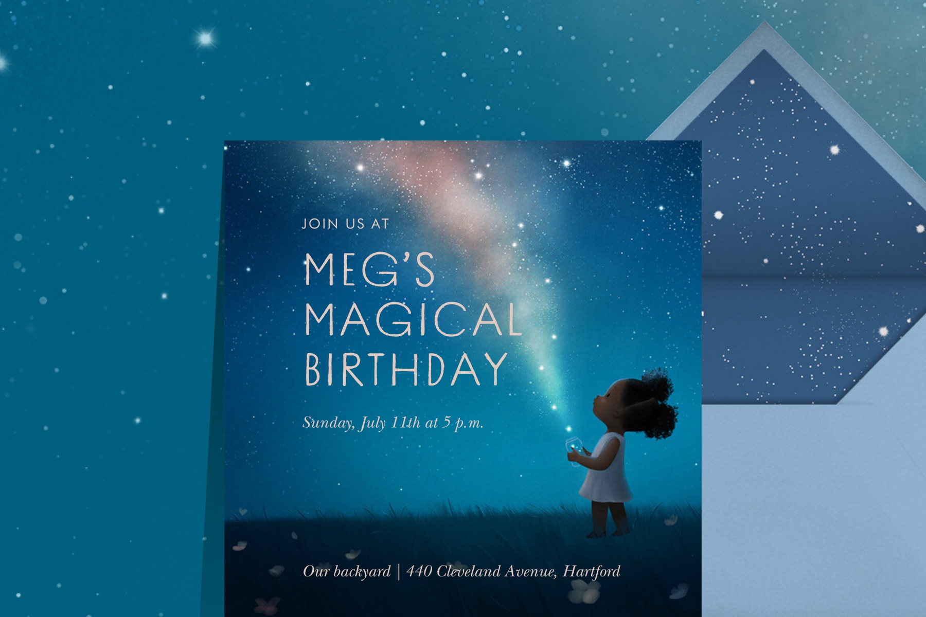 """""""Magic Moment"""" invitation by Vashti Harrison for Paperless Post. The card features a young girl releasing stars from a mason jar at night."""