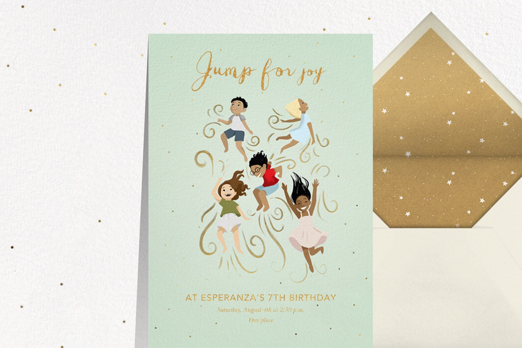 """""""Joyful Jumps"""" invitation by Vashti Harrison for Paperless Post. The card features five children jumping for joy."""