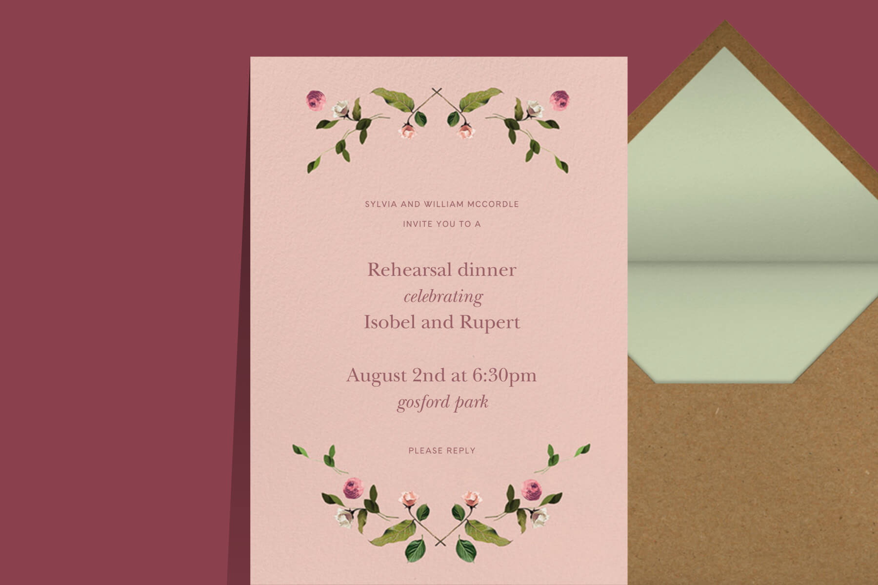 Venamour x Paperless Post rehearsal dinner invitation
