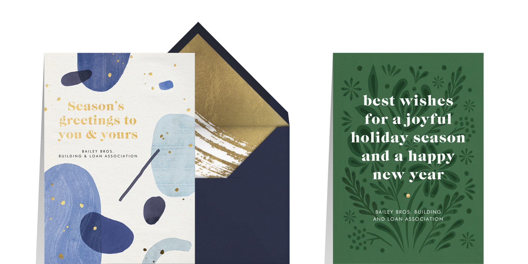 what to write in a Christmas card with blue cards for professional contacts
