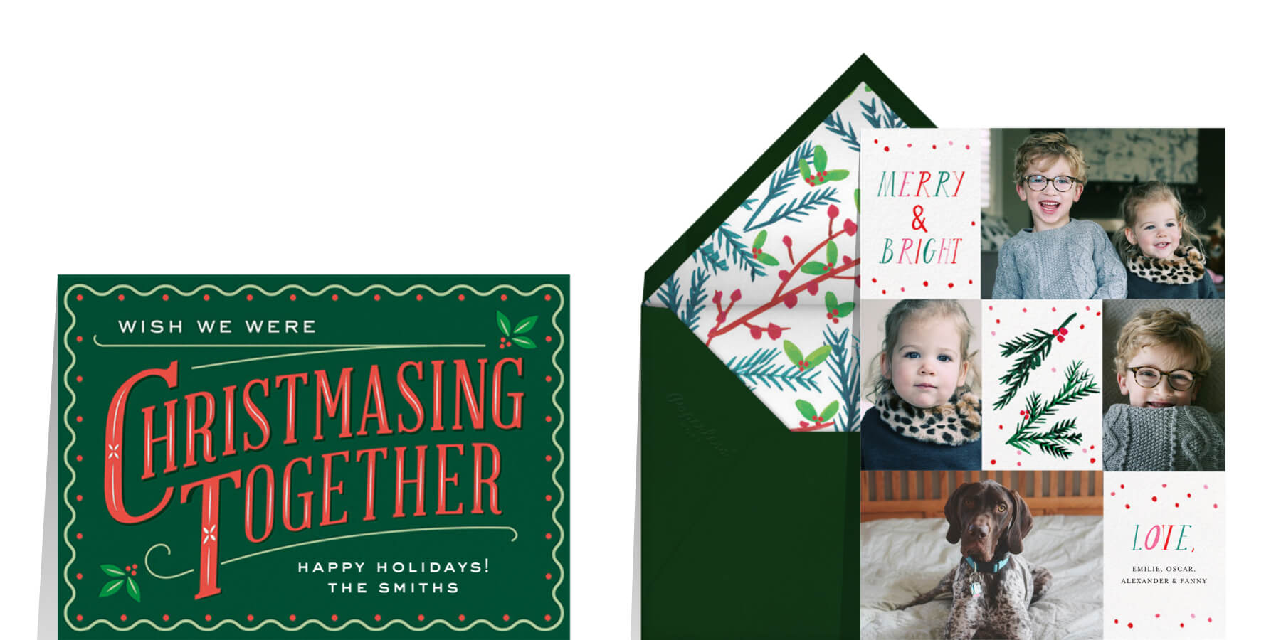 Christmas card wording for your family featuring green and red greeting cards from Cheree Berry