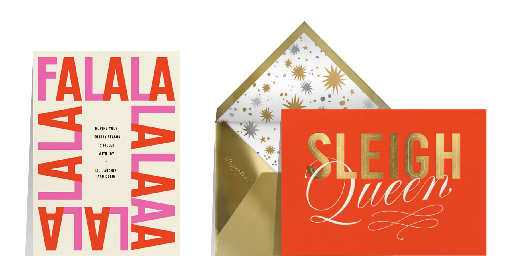 what to write in a Christmas card to a friend featuring cards that say Fa la la and Sleigh Queen