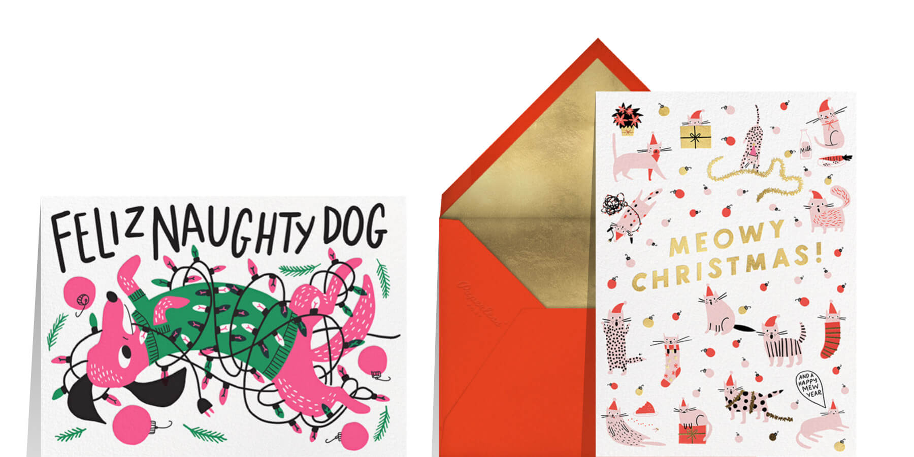 funny Christmas card wording featuring a card that says Feliz Naughty Dog and Meowy Christmas