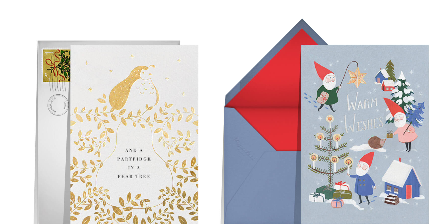 Christmas card sayings and quotes featuring two greeting cards that ready warm wishes and a partridge in a pear tree