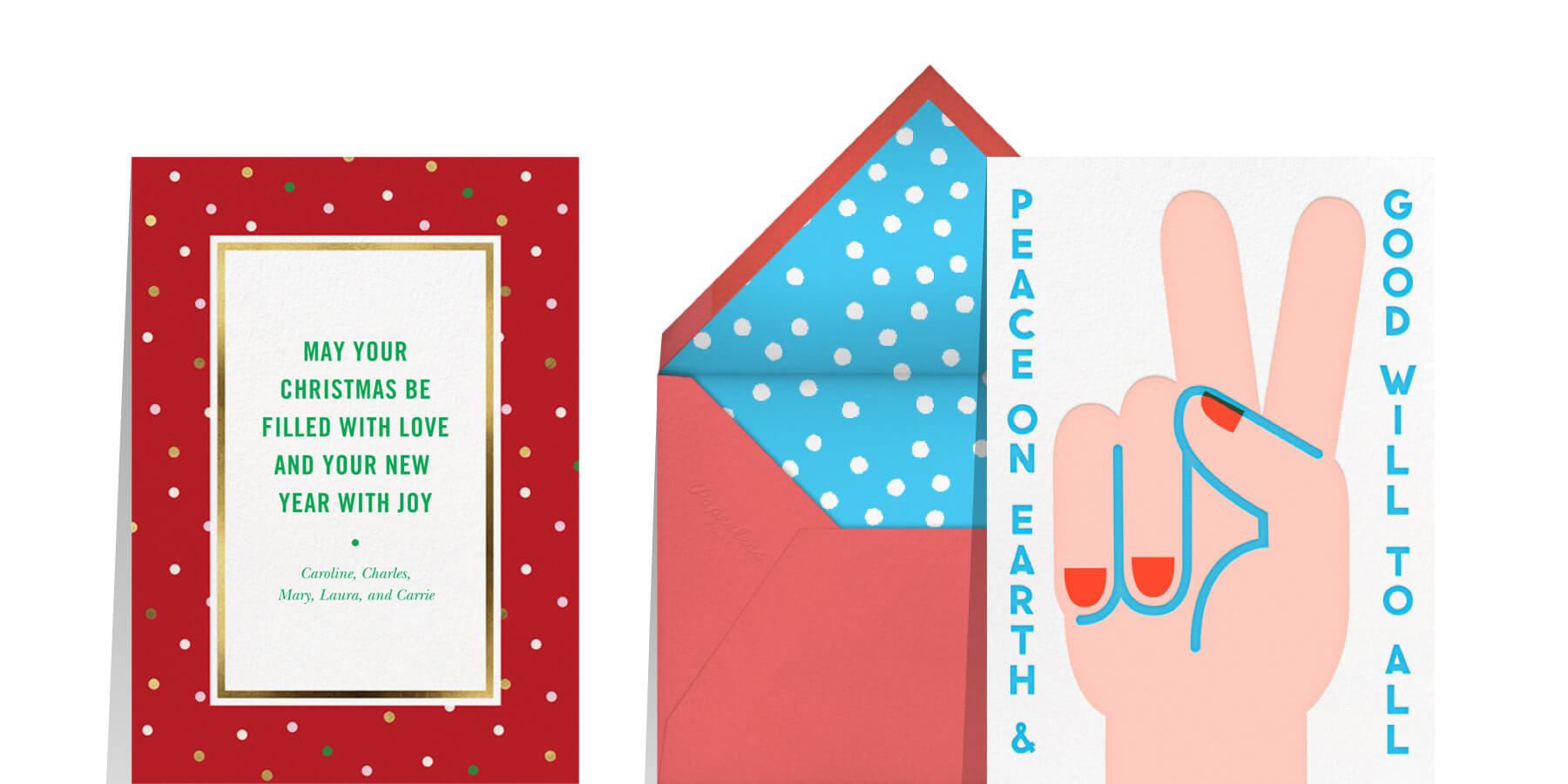 inspirational sayings for Christmas card wording featuring greeting cards that read peace on earth and may your Christmas be filled with love