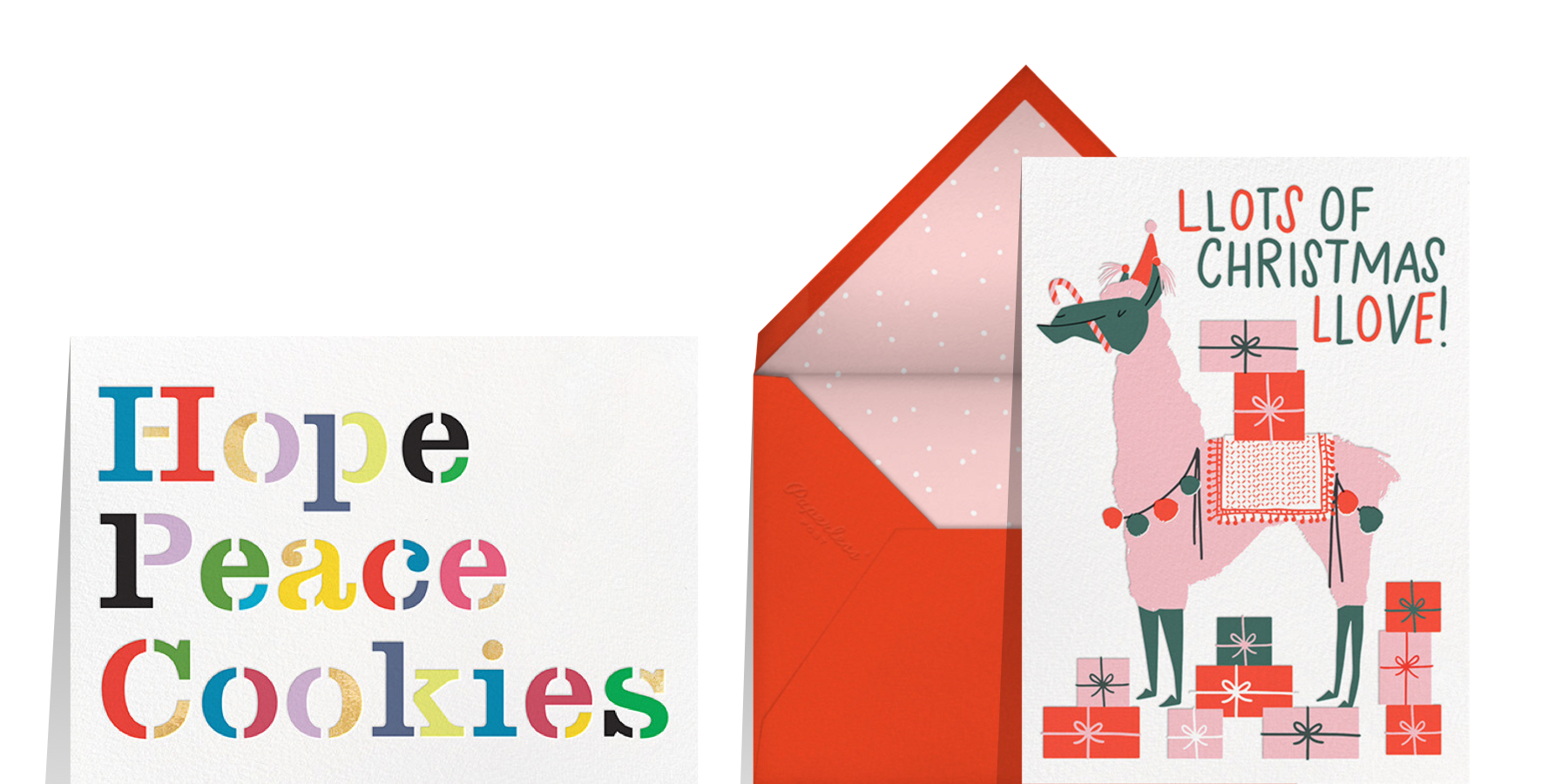 what to write in a Christmas card with card that reads peace, love, cookies