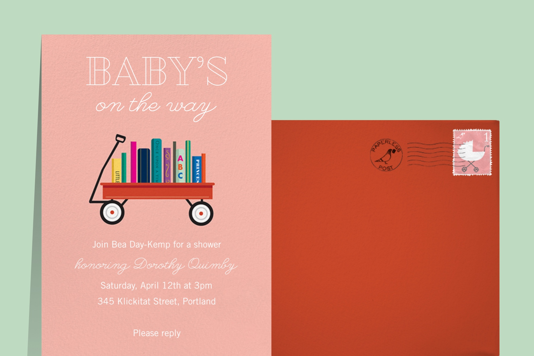 """""""Book Shower Papaya"""" by Paper Source for Paperless Post"""